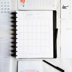 Printable Calendar Page (M by Staples Arc, Discbound, Full & Junior Sizes) + shop radiantrumble.com