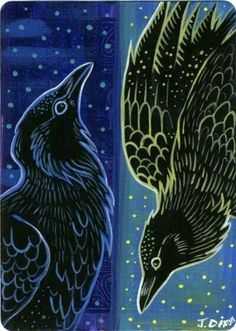 Apr 2020 - Night Bird Day Bird by Crowtesque on DeviantArt Crow Art, Raven Art, Linocut Prints, Art Prints, Block Prints, Don Delillo, Dark Wings, Jackdaw, Crows Ravens