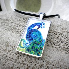 Peacock necklace hand painted jewelry  wedding by rainbeauxcraft, $27.00  PRETTY!