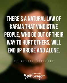 There's a natural law of karma that vindictive people, who go out of their way to hurt others, will end up broke and alone. — Sylvester Stallone