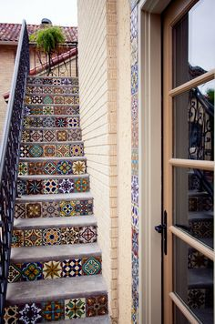 Decorating: Mediterranean Side House Staircase With Floor Tiles Stairs And Steel Railing, Excellent colorful tiles, Spanish tile risers ~ parsegallery Tile Stairs, Tiled Staircase, Mosaic Stairs, Staircase Design, House Staircase, Iron Staircase, Mosaic Tiles, Patchwork Tiles, Home And Deco