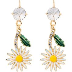 Miu Miu Daisy earrings with crystals (1.270 BRL) ❤ liked on Polyvore featuring jewelry, earrings, accessories, multicolour, multi color earrings, daisy jewellery, earring jewelry, colorful earrings and daisy jewelry