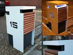 Briefkasten Edelstahl Holz integrierte Beleuchtung