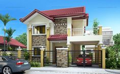 Two Story House Plans Series : 4 Bedroom House Designs, 5 Bedroom House Plans, Two Story House Design, 2 Storey House Design, Two Storey House Plans, Small Villa, Build Your House, Home Building Design, 3d Home