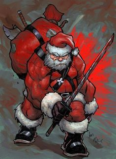 Santa Claus is coming to… fight! Santa Claus is coming to… fight! Naughty Santa, Bad Santa, Merry Christmas, Dark Christmas, Xmas, Arte Nerd, Stuff And Thangs, Holiday Themes, Zombies