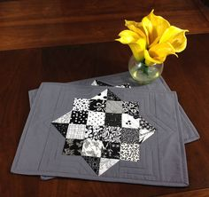 Black White and Grey Placemats Pair of Quilted Placemats