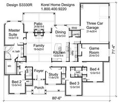 House Plans by Korel Home Designs .. 4 bedrooms, 3 baths.. awesome... laundry not on exterior wall but it could be swapped with the pantry, then make a mudroom/pantry 40/60 split or something