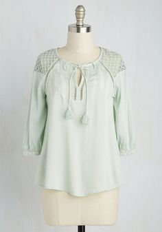 Placid Perspective Top - Mid-length, Woven, Mint, Solid, Embroidery, Tassels, Casual, Boho, 3/4 Sleeve, Spring, Summer