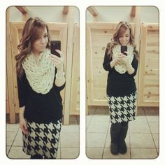Houndstooth pencil skirt black sweater and ruffled cream infinity scarf modest winter fashion
