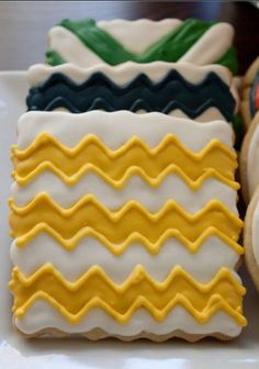 Chevron Cookie, Mustard yellow, Boy birthday, Party food, Navy blue, Square cookie. $36.00, via Etsy.