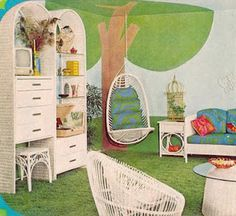 Retro 1970's bedroom..those were my colors...blue and green with yellow smiley face pillows as accents.....and shag carper in blue and green...fancy