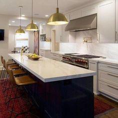 Long Narrow Kitchen, Narrow Kitchen Island, Kitchen Island Storage, Kitchen Layouts With Island, Long Kitchen, Kitchen Island With Seating, Kitchen Living, Kitchen With Long Island, Kitchen Island Different Colour