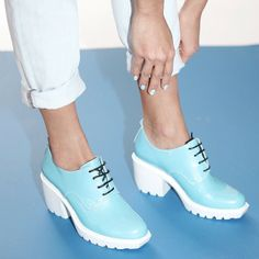 For Resort the classic OC Grunge shoe (here with Christopher Kane jeans) goes sky blue! All White Shoes, Grunge Shoes, Christopher Kane, Silver Pearls, Stella Mccartney Elyse, Opening Ceremony, Beautiful People, Oxford, Wedges