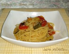 Spaghetti con verdure miste