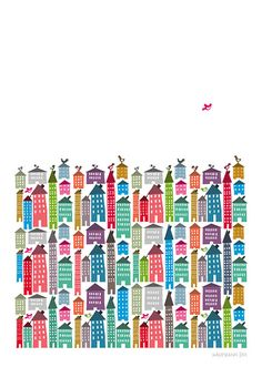 Houses and Birds Print  Different Sizes van JudyKaufmann op Etsy