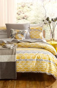 yellow and gray palette + fun prints. love!