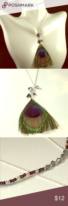 Peacock Feather Pendant ➕ Bead Choker Seed Bead Choker with Swarovski Element Crystals ➕Delicate polished Silver chain displaying a Beautiful Peacock Feather Pendant, adorned with Swarovski Element Crystals and Dark hued Seed Beads.   Hand beaded Choker 11 inches, Chain 16 inches, 2 inch Extender chain.  ❤️❤️❤️Got q's I'm here❤️❤️❤️ made with Love By Mwah Mwah Jewelry Necklaces