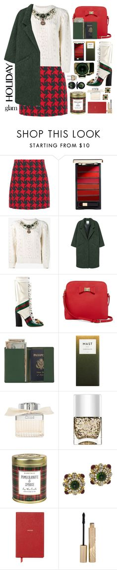 """""""Holiday Glam"""" by cara-mia-mon-cher ❤ liked on Polyvore featuring beauty, Gucci, L'Oréal Paris, MANGO, Liz Claiborne, Royce Leather, Chloé, Nails Inc., Paddywax and Chanel"""