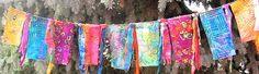 Mixed media, art, prayer flags, fiber