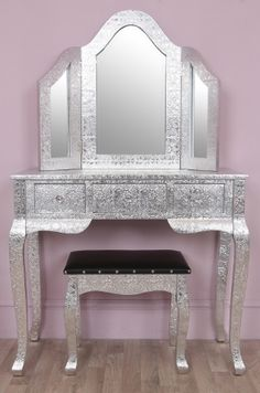 Embossed Silver Dressing Table & Mirror Set- Leona | FOR MY GIRLY ...