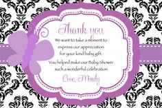 Damask Purple Butterfly Baby Shower Thank you by TheLovelyMemories