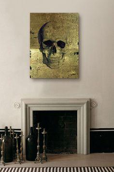 'Calavera de Oro' Fine Art Canvas - Oliver Gal Artist Co.