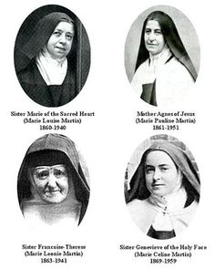 St. Thérèse's sisters - all were Carmelite nuns, except for Leonie, who eventually entered the Visitation Order.