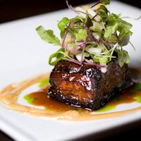 """Cider Braised """"Ozark Berkshire"""" Pork Belly with Malt Vinegar Aioli, Shaved Pear Salad, and Cider Syrup by Chef Michael Scelfo at Temple Bar. Wine Recipes, Gourmet Recipes, Cooking Recipes, Gourmet Desserts, Plated Desserts, Braised Pork Belly, Pork Belly Recipes, Bistro Food, Pork Dishes"""