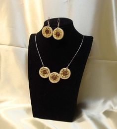 Unique parure set of quilled jewelry. Quilled by lacartaincantata, $25.00