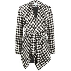 Jovonna Phoebe Houndstooth Waterfall Jacket (285 RON) ❤ liked on Polyvore featuring outerwear, jackets, coats, coats & jackets, print jacket, open front jacket, pattern jacket, jovonna and houndstooth jacket