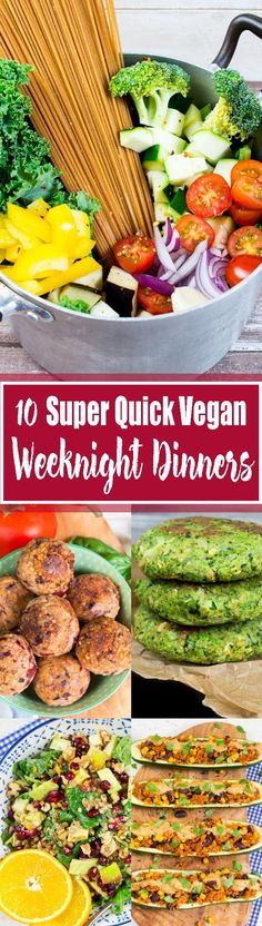 These 10 easy & healthy vegan dinners are just perfect for weeknights! This roun. These 10 easy & healthy vegan dinners are just perfect for weeknights! This roundup includes some of my all-time favorite recipes! Vegan Lunches, Vegan Foods, Vegan Dishes, Vegetarian Recipes, Healthy Recipes, Free Recipes, Healthy Meals, Quick Easy Vegan Meals, Vegan Quick Dinner