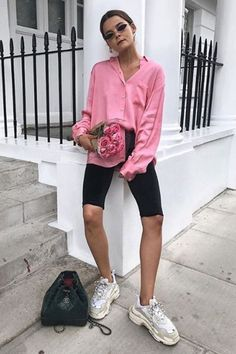 Cycling-shorts trend: Rikke Krefting wearing Zara shirt and cycling shorts Cycling-shorts trend: Rikke Krefting wearing Zara shirt and cycling shorts Mode Outfits, Short Outfits, New Outfits, Casual Outfits, Fashion Outfits, Fashion Shorts, Summer Shorts Outfits, Spring Outfits, Fashion News