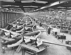 B-24 Liberator bombers being assembled in Fort Worth, Texas, during World War II. (U.S. Air Force)