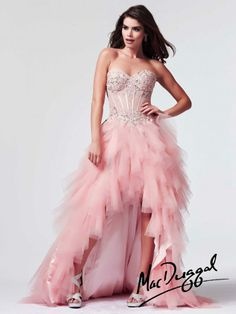 High Low Corset Bodice Prom Dress | Mac Duggal 10001M @ Amor Formals in Lawton ok 580-355-8855