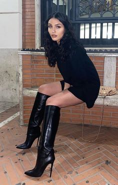 Twitter Sexy Boots, Cool Boots, Black Boots, Thigh High Boots Heels, Knee Boots, Heeled Boots, Botas Sexy, High Leather Boots, Fashion Boots