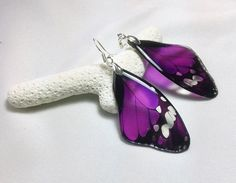 ► Transparent Clear Earrings - Butterfly Wings - 925 Silver - PURPLE FUCHSIA ************************************ Makes a great summer gift for