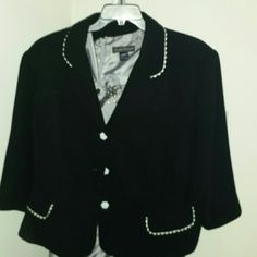 Plus Size Blazer Black blazer with white trim and buttons in size 24W.  Pictured over a grey dress. Jackets & Coats Blazers