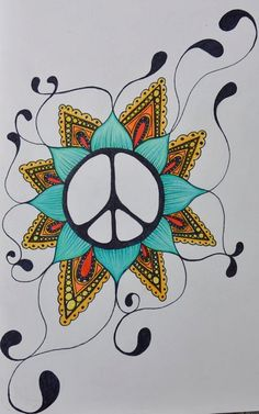Peace Sign Flower Art Print by VisualMeditations on Etsy ( i wanna try this badly) Hippie Peace, Hippie Art, Happy Hippie, Hippie Drawing, Peace Art, Wow Art, We Are The World, Future Tattoos, Peace And Love