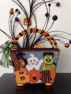 Finished by Sue Parsons of West Coast Finishing, Needledeeva Halloween needlepoint canvas