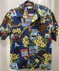 3ba7ba215 Vintage Howie Hawaiian Shirt Mens Medium San Francisco Tiki Ukelele Hula  Girl  Howie  Hawaiian