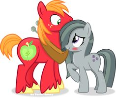 I think marble pie has to be the cutest in the pie family. These two families are so distantly related it . Big Mac and Marble Pie Boomerang Tv Channel, Marble Pie, Big Macintosh, Rock Family, Study Room Decor, Mlp Characters, Some Beautiful Pictures, Little Poney, Mlp Pony