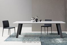 Welded Fixed Size Dining Table and Rest Chairs by Bonaldo