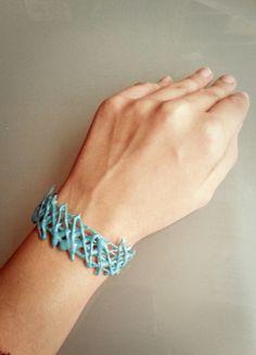 Blue Bracelet-DIY with hot glue!  I like this!