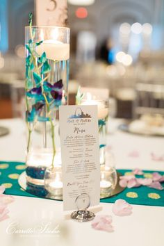 The displayed menu is a great addition to the centerpiece!