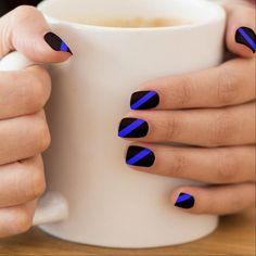 Black Gold Nails Thin Blue Line Forever Minx® Nail Art Beautiful Nail Designs, Cute Nail Designs, Acrylic Nail Designs, Acrylic Nails, Coffin Nails, Summer Nail Designs, Different Nail Designs, Pedicure Designs, Simple Nail Art Designs