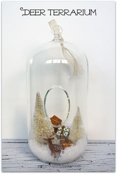 Deer Terrarium Christmas decor with supplies from ith supplies from @craftsandframes via http://yesterdayontuesday.com