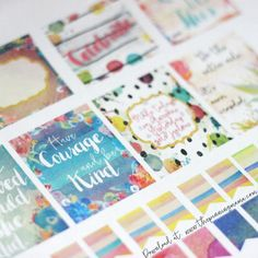 Planner Stickers- These watercolor stickers are TO-DIE-FOR!  Silhouette CAMEO print and cut file.