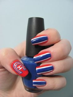 Montreal Canadiens Nails, so doing these! Nail Manicure, Pedicure, Nail Polish, Montreal Canadiens, Hair And Nails, My Nails, Funky Nails, Gorgeous Nails, Pretty Nails