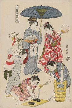 Children's Games, Tanabata. Ukiyo-e woodblock print, 1801, Japan, by artist Torii Kiyonaga.