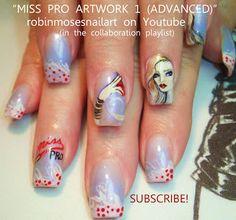 Nail-art by Robin Moses: glitz nails, glamour nails, celebrity nails, black and silver nails, miss pro nail, sation nails, robin moses, robi...